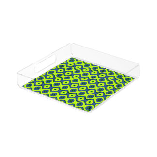 Yellow Blue and Green Colorful Retro Pattern Acrylic Tray
