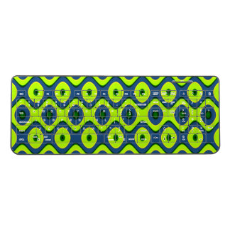 Yellow Blue and Green Retro Abstract Wireless Keyboard