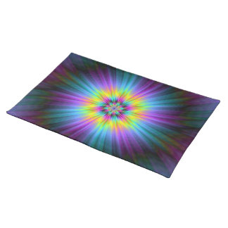 Yellow Blue and Pink Star Burst  Placemats