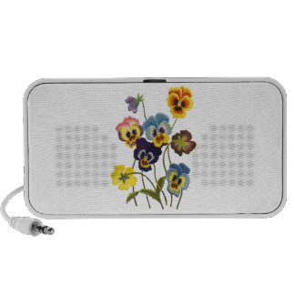 Yellow Blue and Purple Faux Embroidered  Pansies Mini Speaker