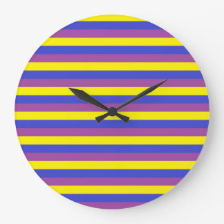 Yellow, Blue and Purple Stripes Large Clock