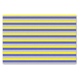 Yellow, Blue and Silver Stripes Tissue Paper