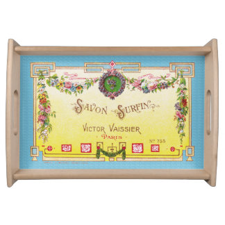Yellow & Blue Antique French Perfume Serving Tray