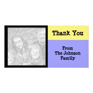 yellow blue black custom photo card