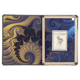 Yellow blue black swirls fractal cover for iPad air