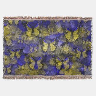 Yellow Blue Butterflies Throw Blanket