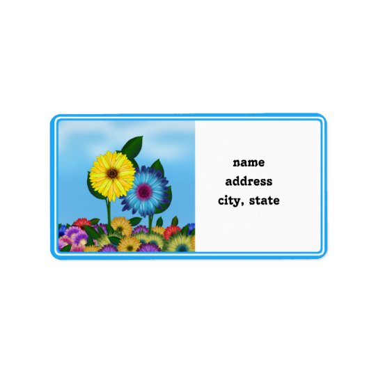 Yellow & Blue Cartoon Sunflowers Label