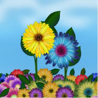 Yellow & Blue Cartoon Sunflowers Standing Photo Sculpture