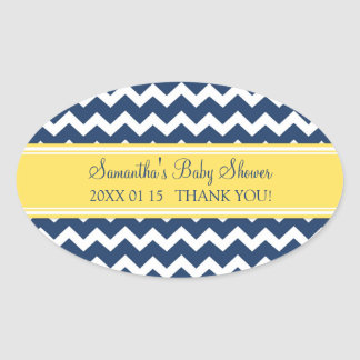 Yellow Blue Chevron Baby Shower Favor Stickers