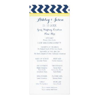 Yellow Blue Chevron Wedding Program Rack Card