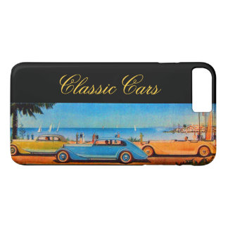 YELLOW BLUE CLASSIC / VINTAGE CARS IN SUMMER BEACH iPhone 8 PLUS/7 PLUS CASE