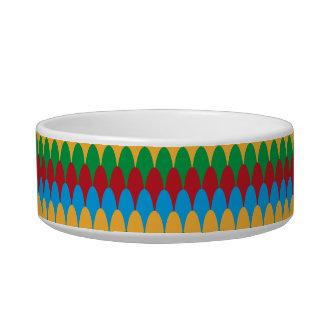 Yellow Blue Green & Red Geometric Scallops Bowl