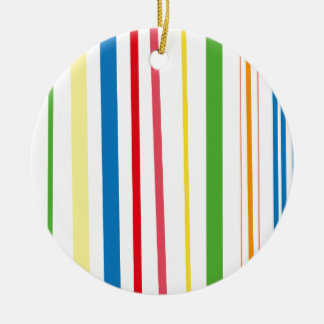 Yellow Blue Green Stripes Round Ceramic Decoration