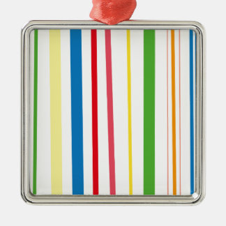 Yellow Blue Green Stripes Silver-Colored Square Decoration