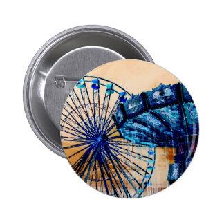 Yellow blue invert ferris wheel swings fair rides 6 cm round badge