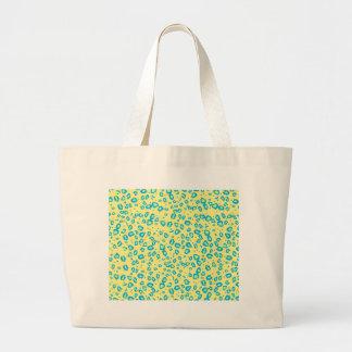 yellow blue lime cheetah large tote bag