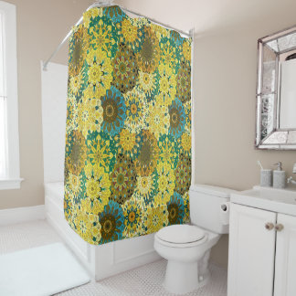 Yellow & Blue Mandala design | Indian motif Shower Curtain