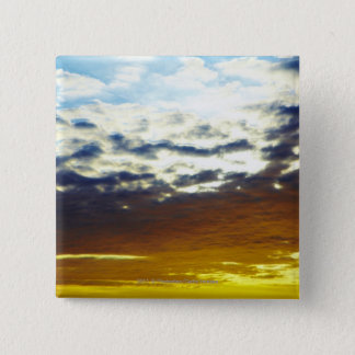 Yellow Blue Moody Sunset with Clouds 15 Cm Square Badge