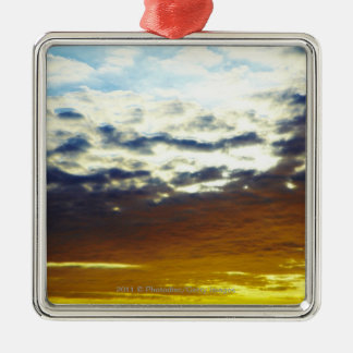 Yellow Blue Moody Sunset with Clouds Christmas Ornament