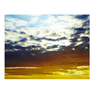 Yellow Blue Moody Sunset with Clouds Postcard