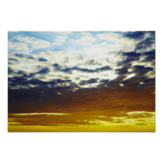 Yellow Blue Moody Sunset with Clouds Poster