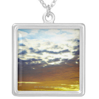 Yellow Blue Moody Sunset with Clouds Silver Plated Necklace