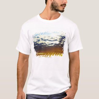 Yellow Blue Moody Sunset with Clouds T-Shirt