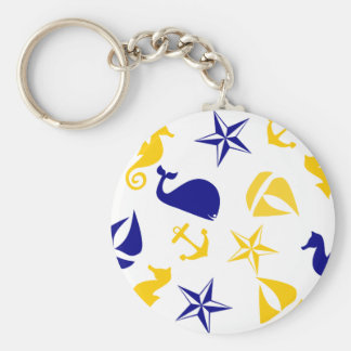 Yellow Blue Nautical Scatter Basic Round Button Key Ring