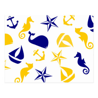 Yellow Blue Nautical Scatter Postcard