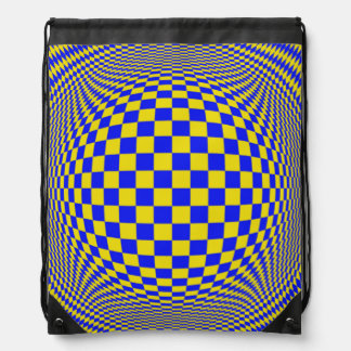 Yellow Blue Optical Illusion Backpacks