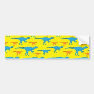 Yellow Blue Orange Dinosaur Designs Pattern Gifts Bumper Sticker