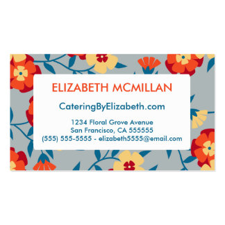 Yellow Blue Orange Modern Floral Business Cards