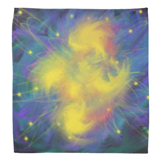 Yellow Blue Orange Star Orbit Abstract Art Design