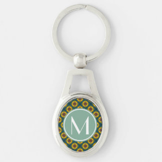 Yellow Blue Pattern with Mint and White Monogram Silver-Colored Oval Key Ring