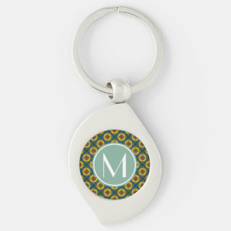 Yellow Blue Pattern with Mint and White Monogram Silver-Colored Swirl Key Ring