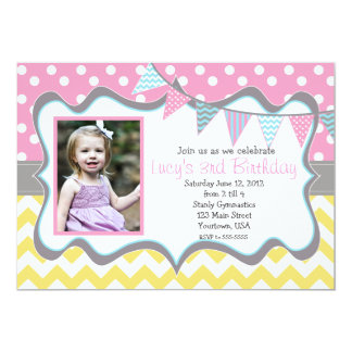Yellow, blue, pink  Pendants Party Birthday Card