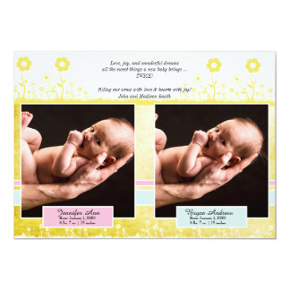 Yellow Blue Pink Twin Photo Baby Announcement