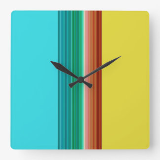 Yellow Blue Red Multicolor Striped Pattern Square Wall Clock