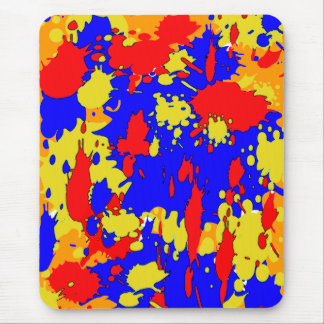 Yellow Blue Red Paint Splatters Abstract Mouse Pad