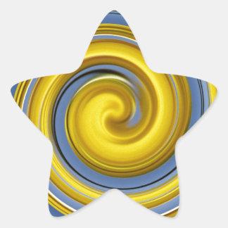 Yellow-blue spiral sample star sticker
