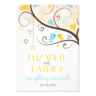 Yellow & Blue Summer Lovebirds Wedding Invitation