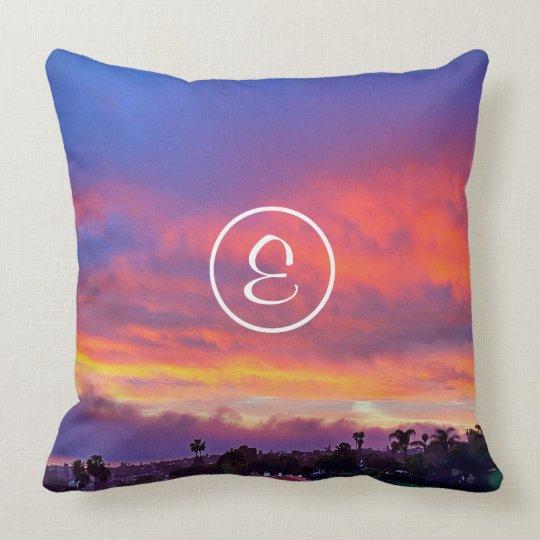 Yellow blue sunrise photo custom monogram pillow