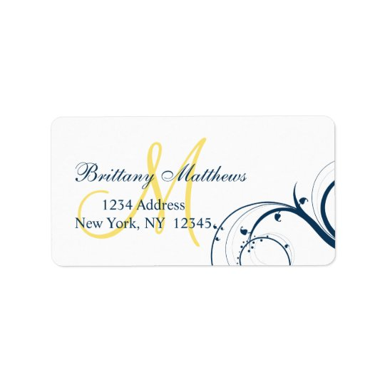 Yellow Blue Swirl Wedding RSVP Address Label