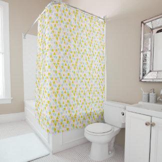 Yellow blue Triangular Pattern Shower Curtain