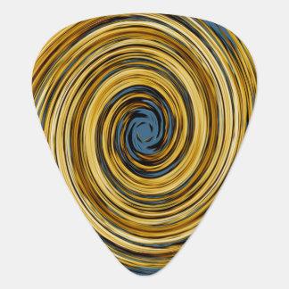 Yellow Blue White Black Swirl Abstract Pattern Plectrum