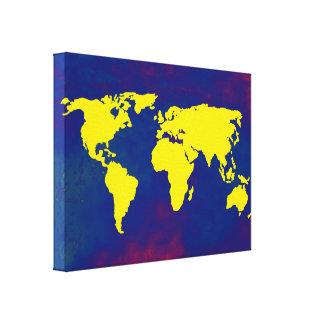 yellow&blue worldmap decor idea canvas prints