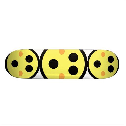Yellow Blushing Smiley Face Skate Decks