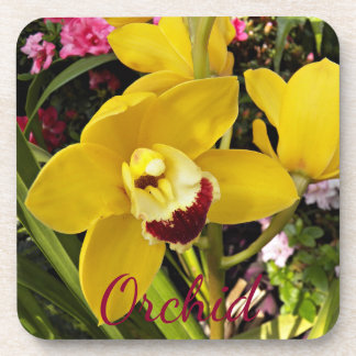 Yellow Boat Orchid Floral Coaster