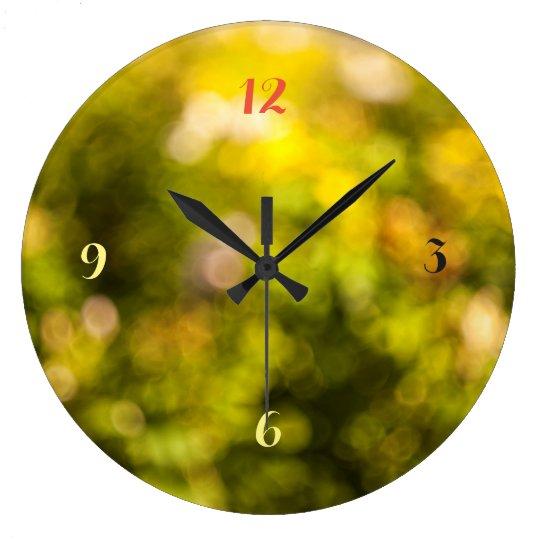 Yellow bokeh clocks