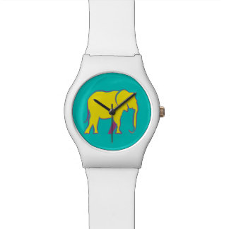 Yellow Bold Cartoon Elephant Stylish Vibrant Blue Watch